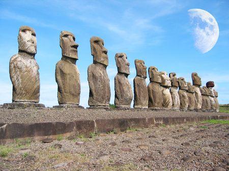 singularity: Ahu Tongariki. Moais of Easter Island Stock Photo