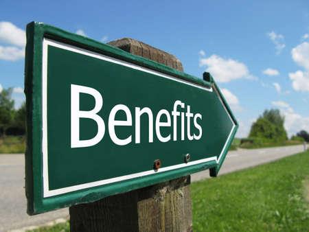 benefits: BENEFITS road sign Stock Photo
