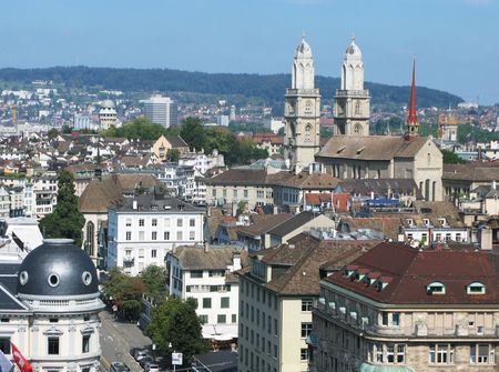 Aerial view of Zurich downtown photo