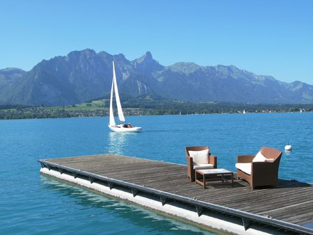 Romantic view to the lake Thun, Switzerland photo