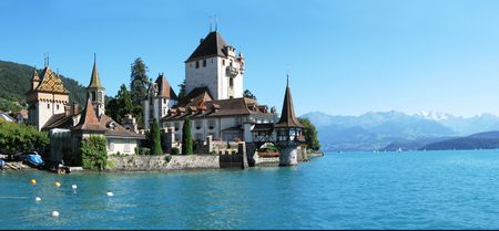turrets: Oberhofen castle at the lake Thun, Switzerland Stock Photo