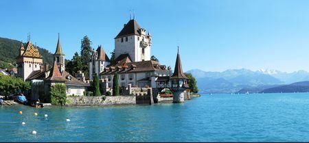 Oberhofen castle at the lake Thun, Switzerland Stock Photo