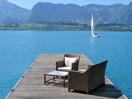Romantic view to the lake Thun, Switzerland  photo
