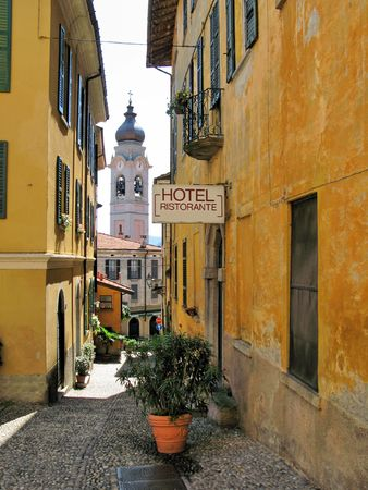 Narrow street of Menaggio, small town at the lake Como, Italy photo