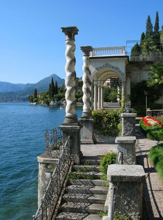 mediterranean houses: View to the lake Como from villa Monastero. Italy