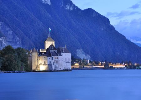 Chillon castle at Geneva lake, Switzerland