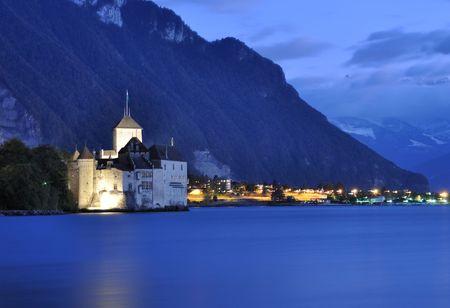 Chillion castle at night, Geneva lake, Switzerland photo
