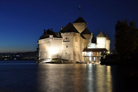 Chillon castle at night. Geneva lake, Switzerland photo