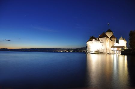 chillon: Chillon castle at night. Geneva lake, Switzerland