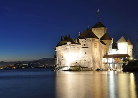 Chillion castle at night. Geneva lake, Switzerland photo