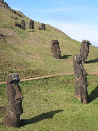 singularity: Moais on the slope of Rano Raraku volcano, Easter Island   Stock Photo