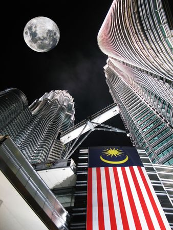 Twin towers by night. Kuala Lumpur   Editorial