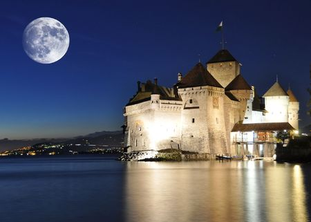 Chillion castle at night. Geneva lake, Switzerland photo