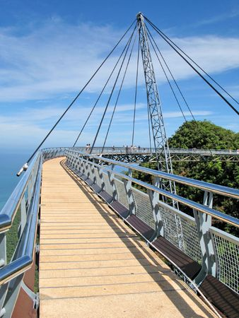 Famous hanging bridge of Langkawi island, Malaysia  photo