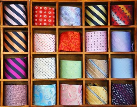 como: Ties on the shelf of a shop in Como region, Italy
