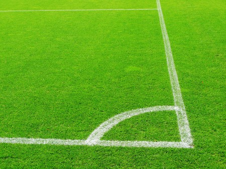 soccer pitch: Corner of a soccer field Stock Photo