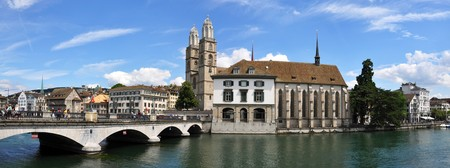 gabled: Grossmuenster church and City Hall in Zurich downtown