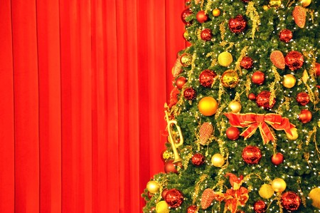 Christmas tree against red drapery  photo