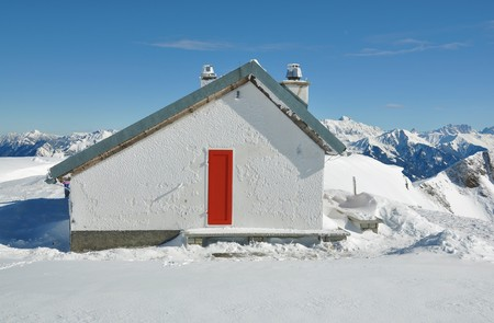 Rescue station in Pizol, famous Swiss skiing resort