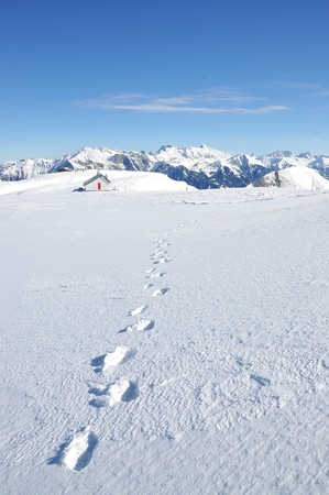 dint: Footsteps on the snow. Pizol, Swiss Alps