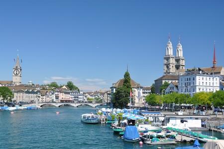 gabled: Zurich downtown across Limmat river