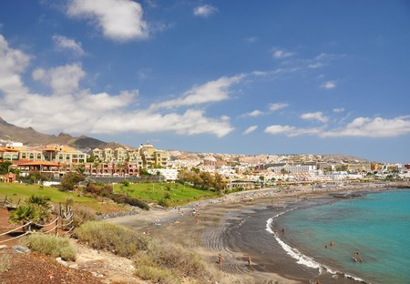 adeje: Luxury hotels at Torviscas Playa. Tenerife island, canaries Stock Photo