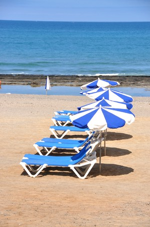 Sunbeds and umbrellas on the sandy beach of Tenerife island, Canaries photo