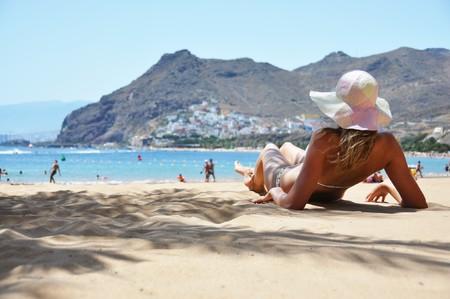 Beach-Szene. Playa De La Teresitas. Teneriffa, Kanarische Inseln