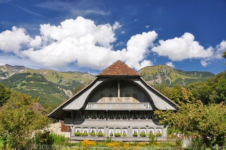 Traditional farm house of the Bern region, Switzerland photo