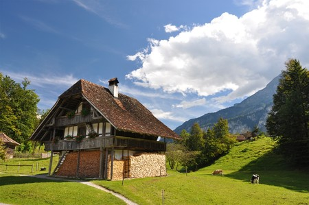 Traditional Swiss country house Stock Photo