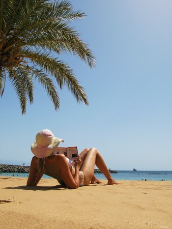Beach scene. Playa Teresitas. Tenerife, Canaries  photo