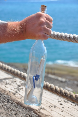Bottle with a message in the hand photo