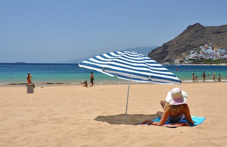 Beach scene. Playa de la Teresitas. Tenerife, Canaries photo