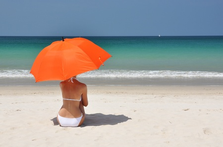 beach umbrella: Beach scene. Phuket island, Thailand