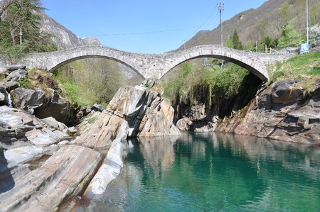 natural arch: Ponte dei salti bridge in Lavertezzo, Switzerland  Stock Photo