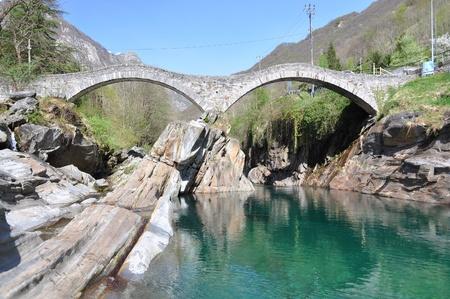 natural landmark: Ponte dei salti bridge in Lavertezzo, Switzerland  Stock Photo