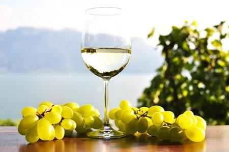 Wineglass and bunch of grapes against Geneva lake. Lavaux region, Switzerland