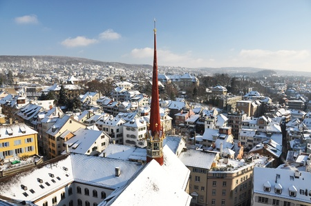 Winter view of Zurich  photo