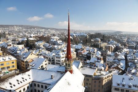 gabled: Winter view of Zurich