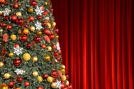 winter theater: Decorated Christmas tree Stock Photo