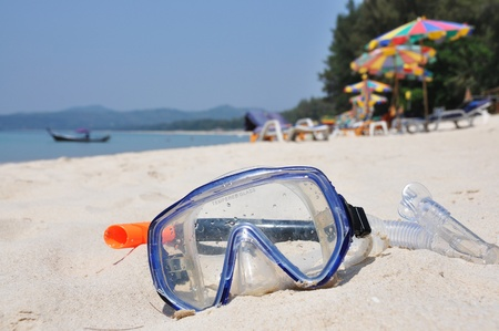 Snorkeling set on Bangtao beach of Phuket island  photo