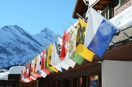 helvetica: Flags of all Swss cantons against snowy Alps