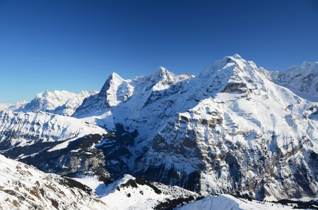 eiger: Eiger, Moench and Jungfrau: three famous Swiss mountain peaks