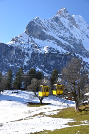 Spring in Braunwald, famous Swiss skiing resort photo