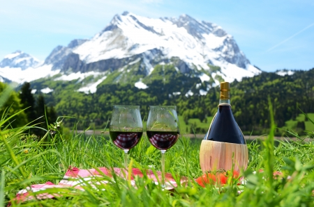 Wine and vegetables served at a picnic on Alpine meadow  Switzerland photo