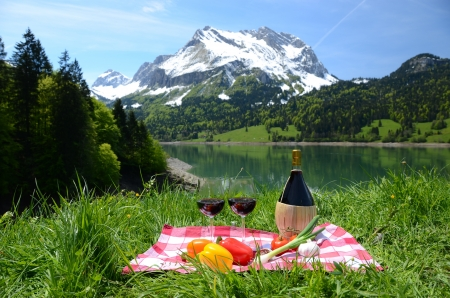 swiss culture: Wine and vegetables served at a picnic on Alpine meadow  Switzerland