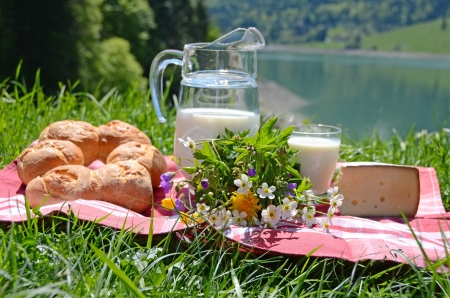 Milk, cheese and bread served at a picnic in an Alpine meadow, Switzerland  photo