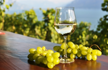Wineglass and bunch of grapes  Lavaux region, Switzerland  Stock Photo