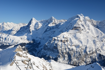eiger: Eiger, Moench and Jungfrau, famous Swiss mountain peaks  Stock Photo