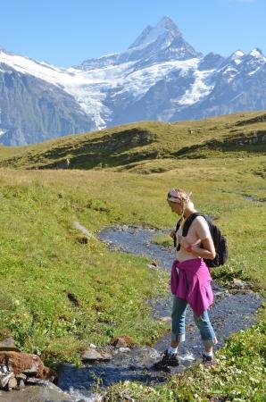altitude: Trekking in the Jungfrau region, Switzerland  Stock Photo